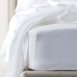 Antwerp Linen Fitted Sheet  - White