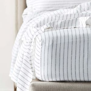 Antwerp Linen Fitted Sheet - White & Charcoal