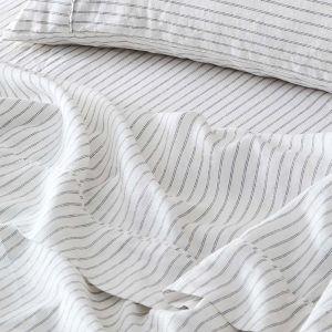 Antwerp Linen Flat Sheet  - White & Charcoal
