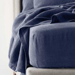 Antwerp Linen Fitted Sheet  - Indigo