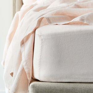 Antwerp Linen Fitted Sheet - Blush