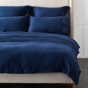 Antwerp Linen Quilt Cover  - Navy