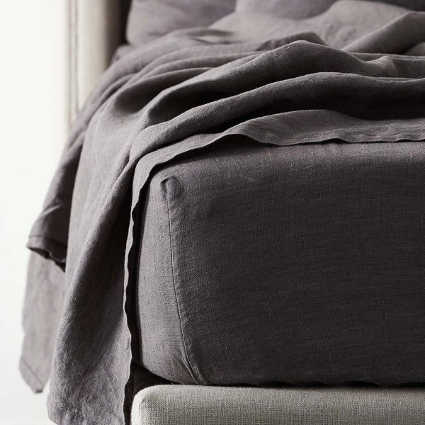 Antwerp Linen Fitted Sheet - Charcoal