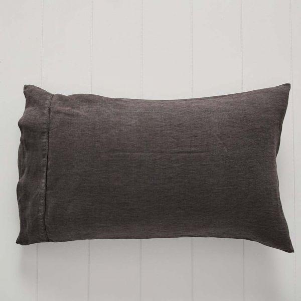 Antwerp Linen Pillowcase Std Pair Charcoal