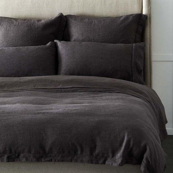 Antwerp Linen Quilt Cover - Charcoal