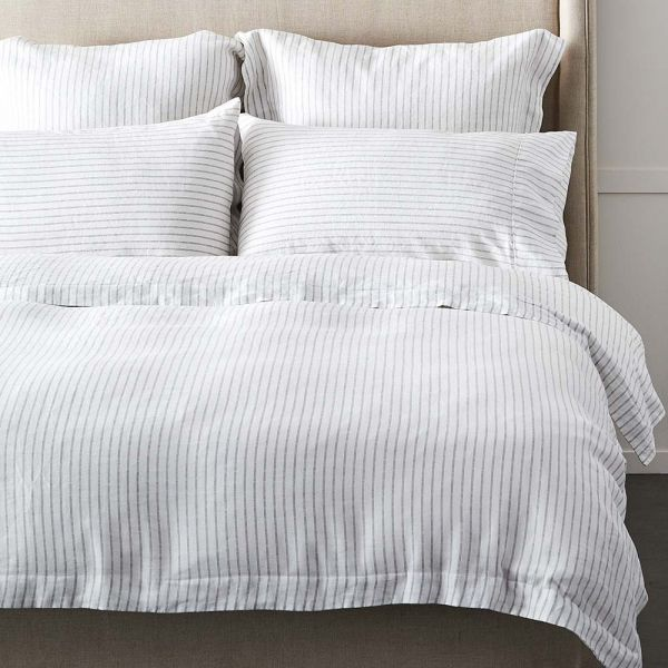 Antwerp Linen Quilt Cover - Charcoal & White