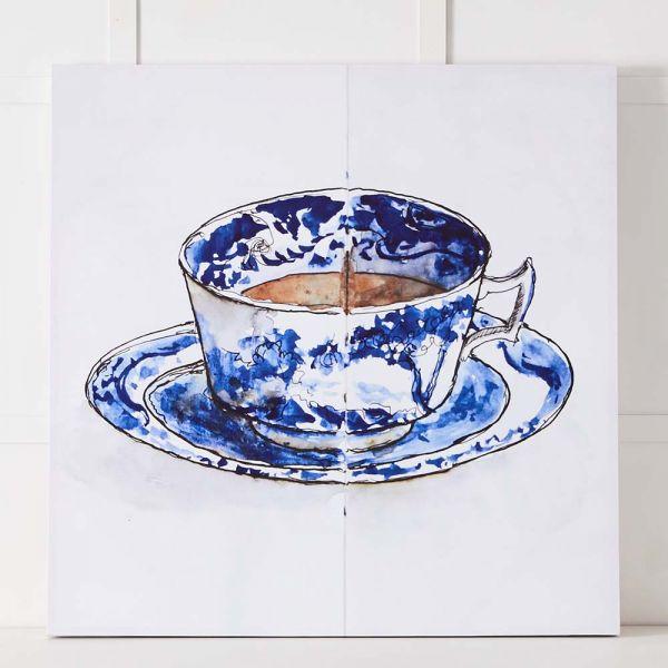 Blue Teacup Canvas 110x110