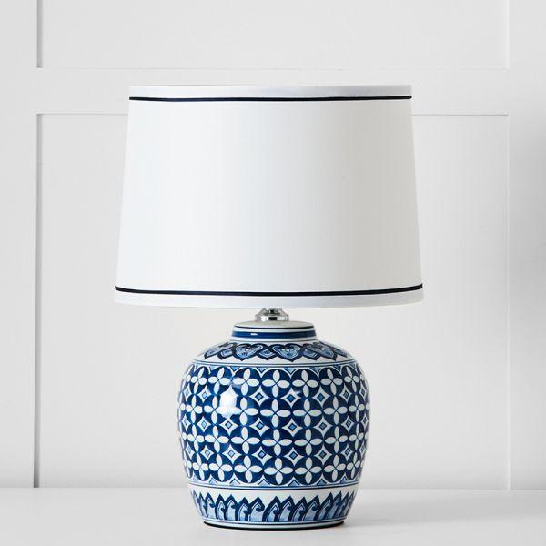 Empress Table Lamp - Navy & White
